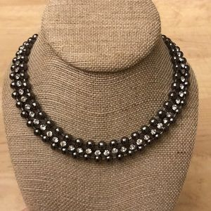NWT J.Crew gunmetal and rhinestone necklace